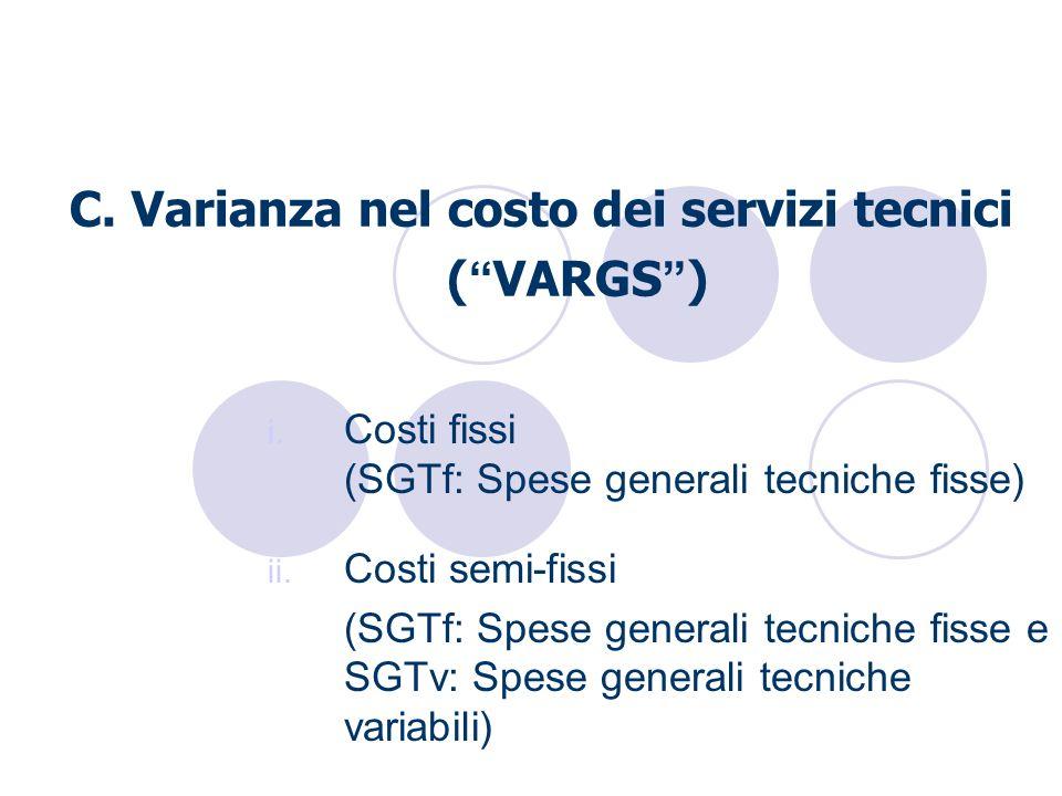 C. Varianza nel costo dei servizi tecnici ( VARGS ) i. Costi fissi (SGTf: Spese generali tecniche fisse) ii. Costi semi-fissi (SGTf: Spese generali te