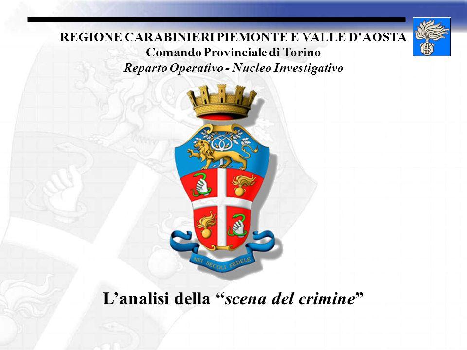 REGIONE CARABINIERI PIEMONTE E VALLE DAOSTA Comando Provinciale di Torino Reparto Operativo - Nucleo Investigativo Lanalisi della scena del crimine