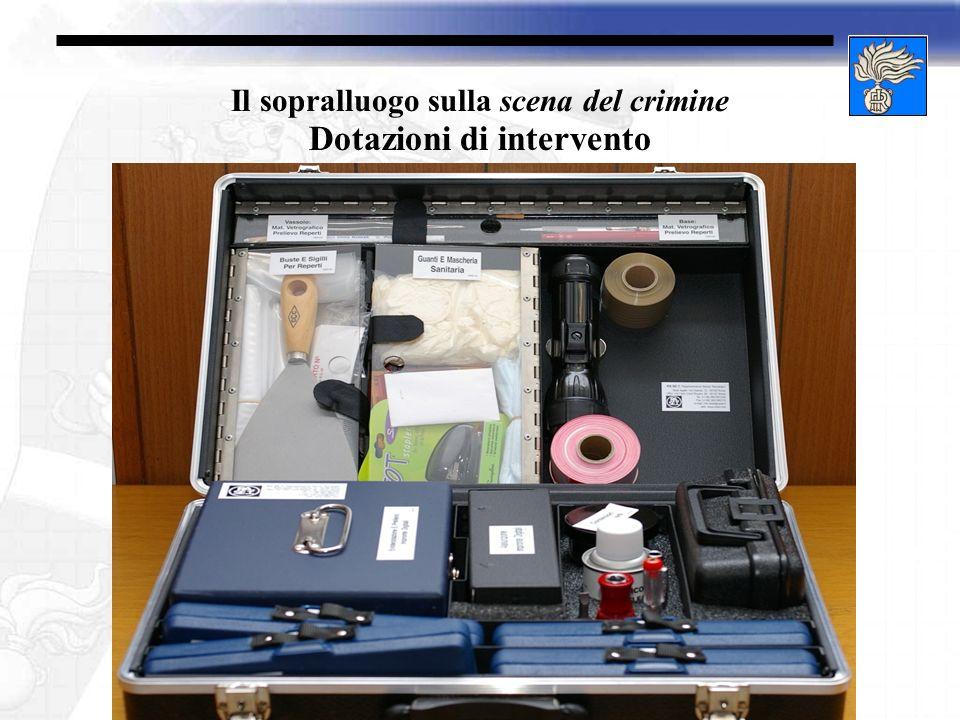 Il sopralluogo sulla scena del crimine Dotazioni di intervento