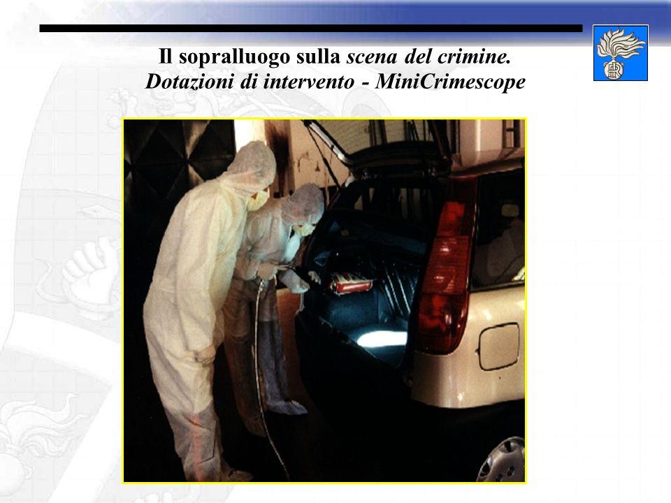 Il sopralluogo sulla scena del crimine. Dotazioni di intervento - MiniCrimescope