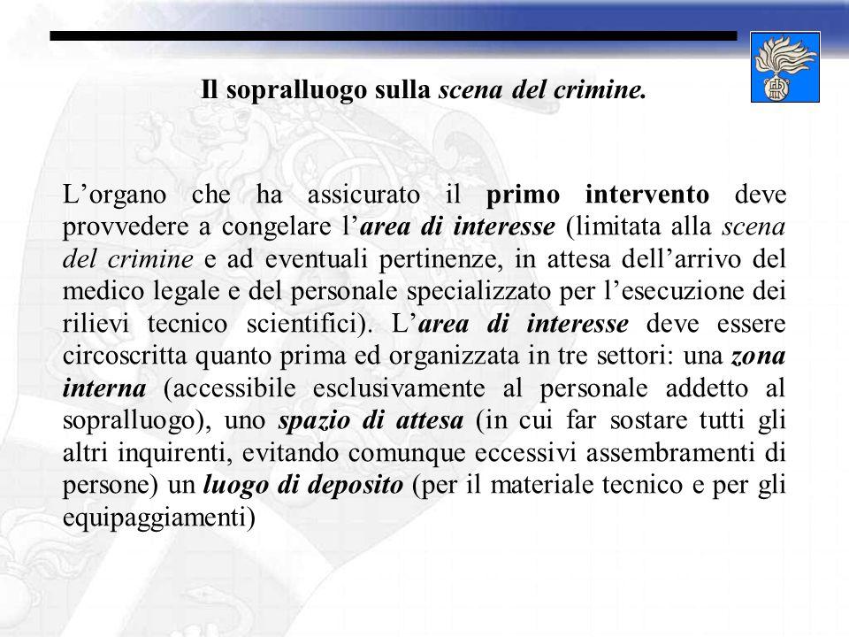1.Il sopralluogo sulla scena del crimine. b. Quadro normativo.