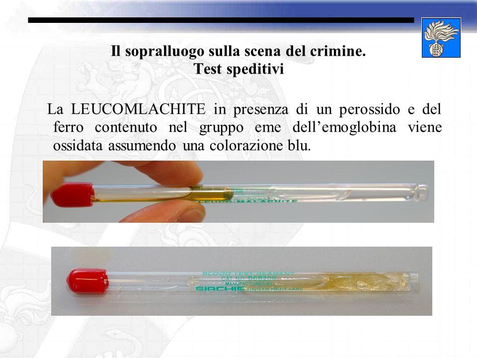 Il sopralluogo sulla scena del crimine. Test speditivi La LEUCOMLACHITE in presenza di un perossido e del ferro contenuto nel gruppo eme dellemoglobin