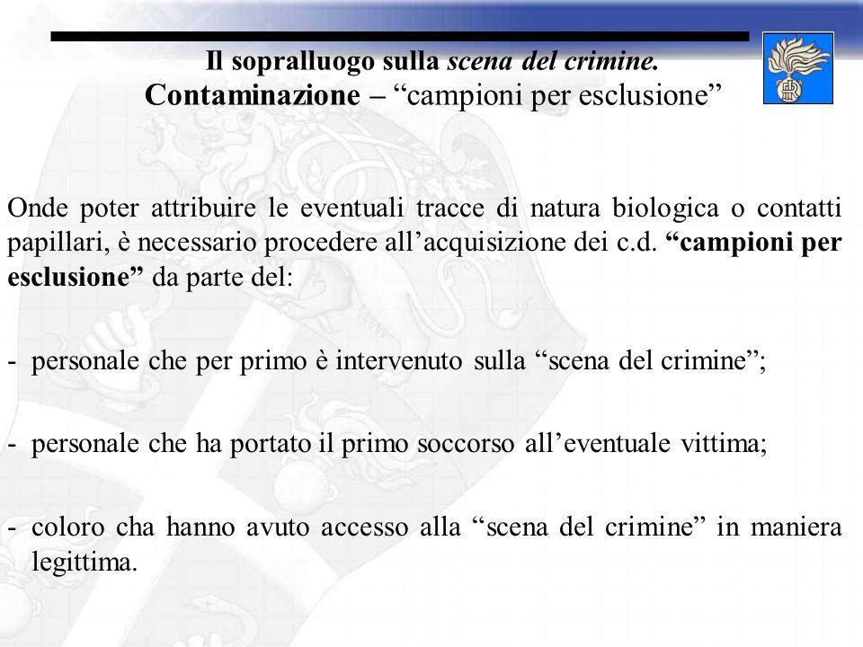 Il sopralluogo sulla scena del crimine. Contaminazione – campioni per esclusione Onde poter attribuire le eventuali tracce di natura biologica o conta