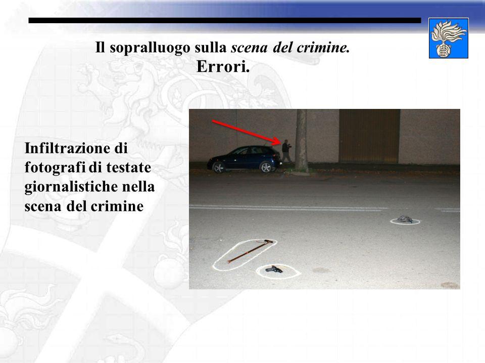 Il sopralluogo sulla scena del crimine. Errori. Infiltrazione di fotografi di testate giornalistiche nella scena del crimine