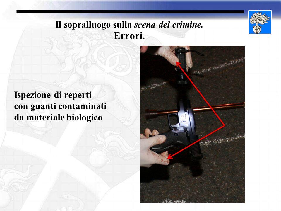 Il sopralluogo sulla scena del crimine. Errori. Ispezione di reperti con guanti contaminati da materiale biologico