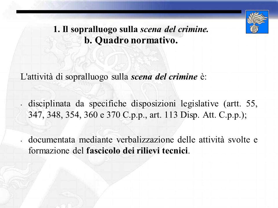 1. Il sopralluogo sulla scena del crimine. b. Quadro normativo. L'attività di sopralluogo sulla scena del crimine è: disciplinata da specifiche dispos