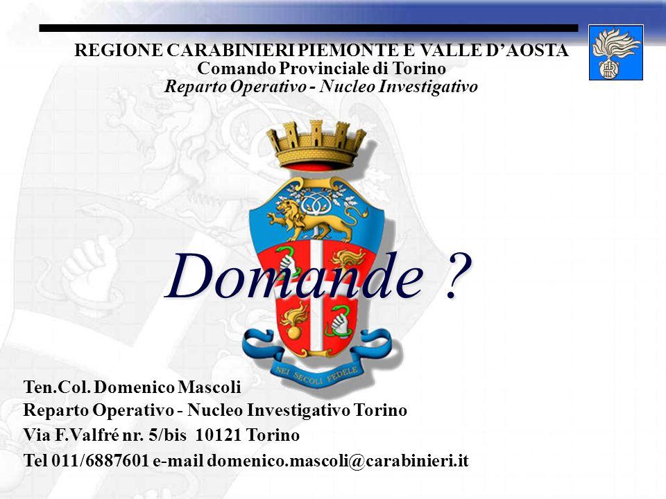 REGIONE CARABINIERI PIEMONTE E VALLE DAOSTA Comando Provinciale di Torino Reparto Operativo - Nucleo Investigativo Domande ? Ten.Col. Domenico Mascoli