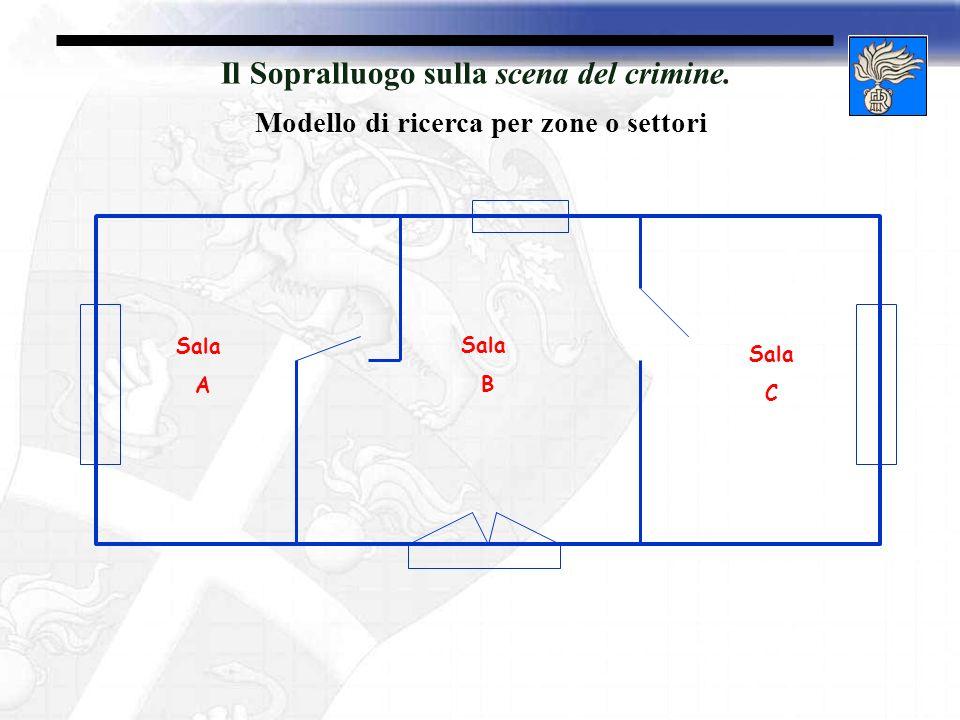 Il Sopralluogo sulla scena del crimine. Modello di ricerca per zone o settori Sala B Sala A Sala C