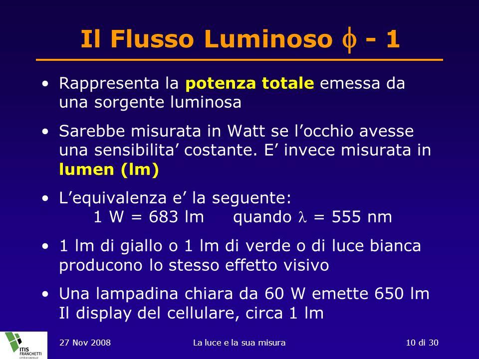 27 Nov 2008La luce e la sua misura10 di 30 Il Flusso Luminoso - 1 Rappresenta la potenza totale emessa da una sorgente luminosa Sarebbe misurata in Watt se locchio avesse una sensibilita costante.