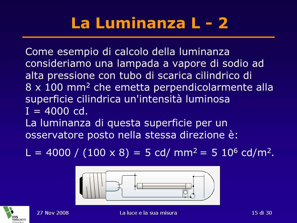 27 Nov 2008La luce e la sua misura15 di 30 La Luminanza L - 2 Come esempio di calcolo della luminanza consideriamo una lampada a vapore di sodio ad alta pressione con tubo di scarica cilindrico di 8 x 100 mm 2 che emetta perpendicolarmente alla superficie cilindrica un intensità luminosa I = 4000 cd.