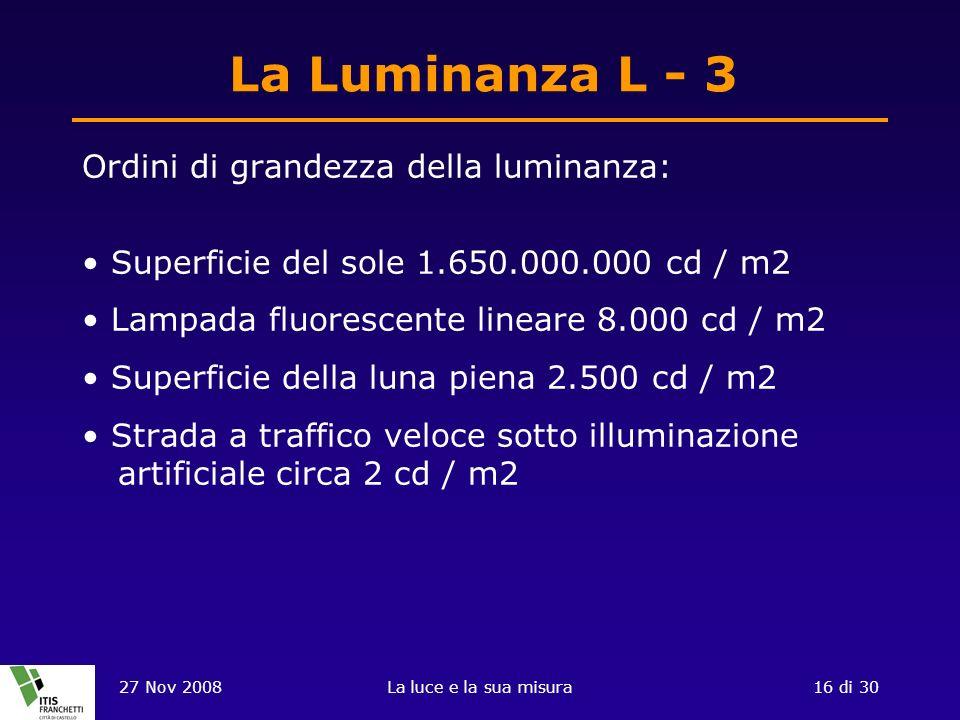 27 Nov 2008La luce e la sua misura16 di 30 La Luminanza L - 3 Ordini di grandezza della luminanza: Superficie del sole 1.650.000.000 cd / m2 Lampada f