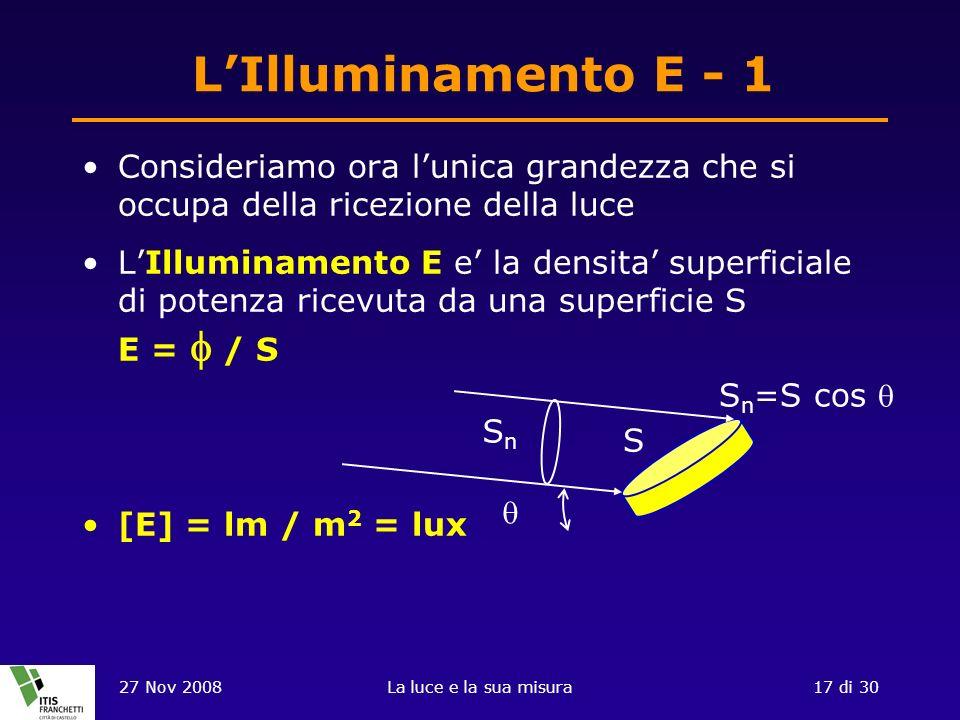 27 Nov 2008La luce e la sua misura17 di 30 LIlluminamento E - 1 Consideriamo ora lunica grandezza che si occupa della ricezione della luce LIlluminamento E e la densita superficiale di potenza ricevuta da una superficie S E = / S [E] = lm / m 2 = lux SnSn S S n =S cos