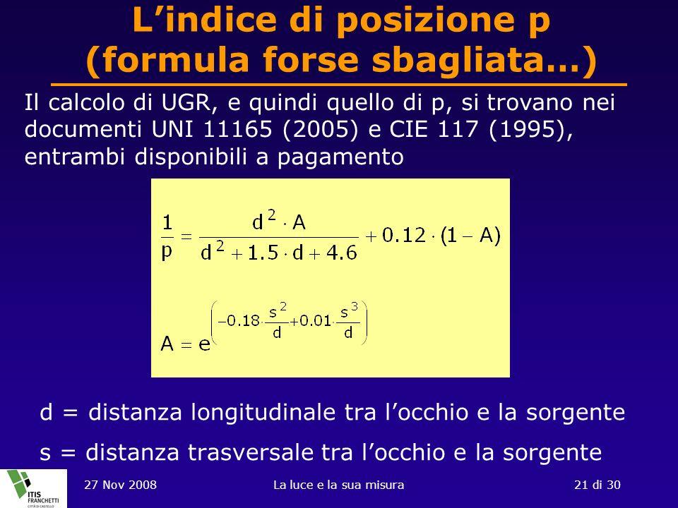 27 Nov 2008La luce e la sua misura21 di 30 Lindice di posizione p (formula forse sbagliata…) d = distanza longitudinale tra locchio e la sorgente s = distanza trasversale tra locchio e la sorgente Il calcolo di UGR, e quindi quello di p, si trovano nei documenti UNI 11165 (2005) e CIE 117 (1995), entrambi disponibili a pagamento