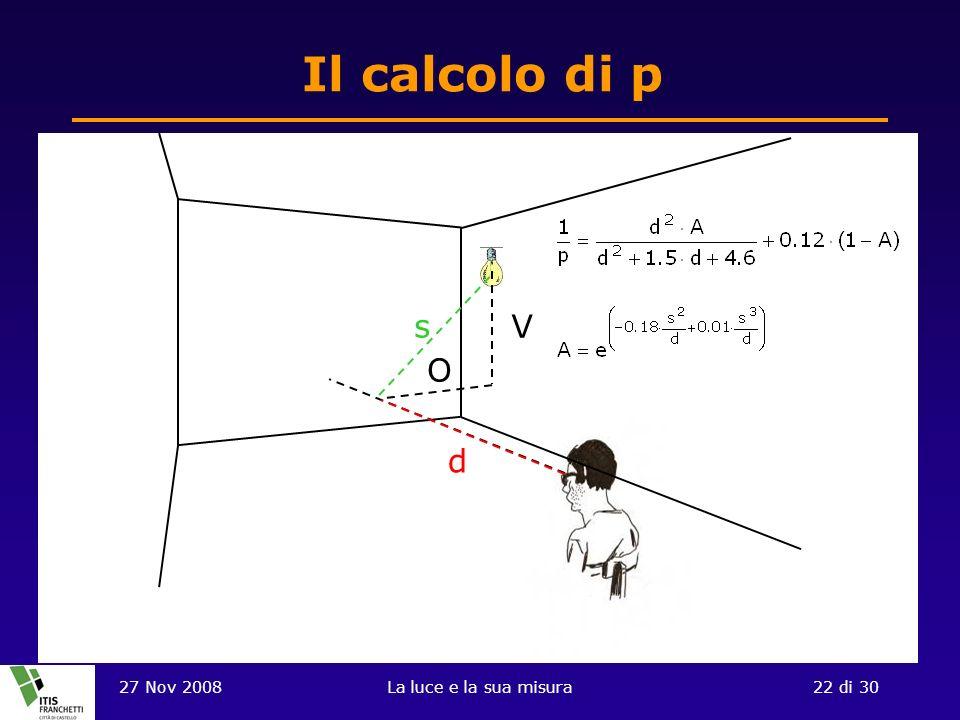 27 Nov 2008La luce e la sua misura22 di 30 Il calcolo di p V O d s