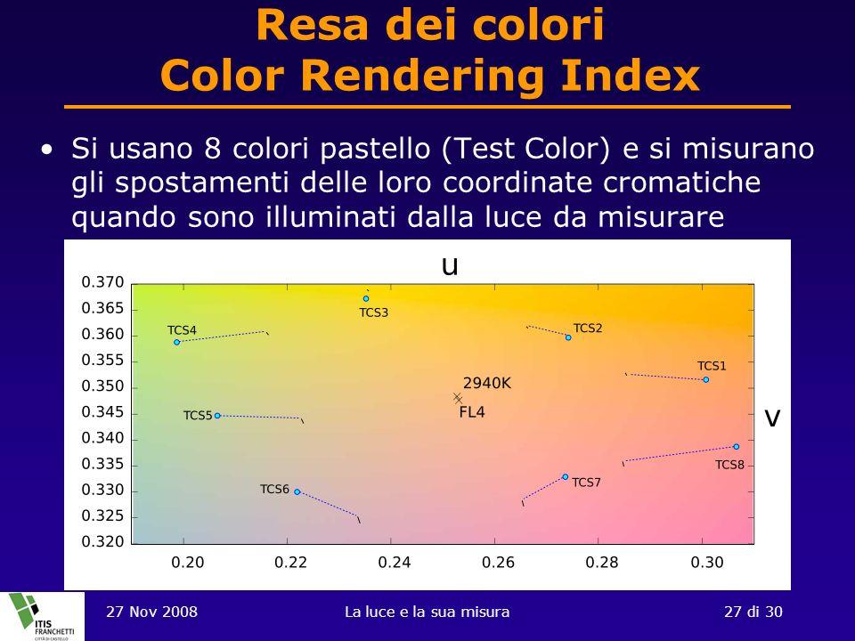27 Nov 2008La luce e la sua misura27 di 30 Resa dei colori Color Rendering Index Si usano 8 colori pastello (Test Color) e si misurano gli spostamenti