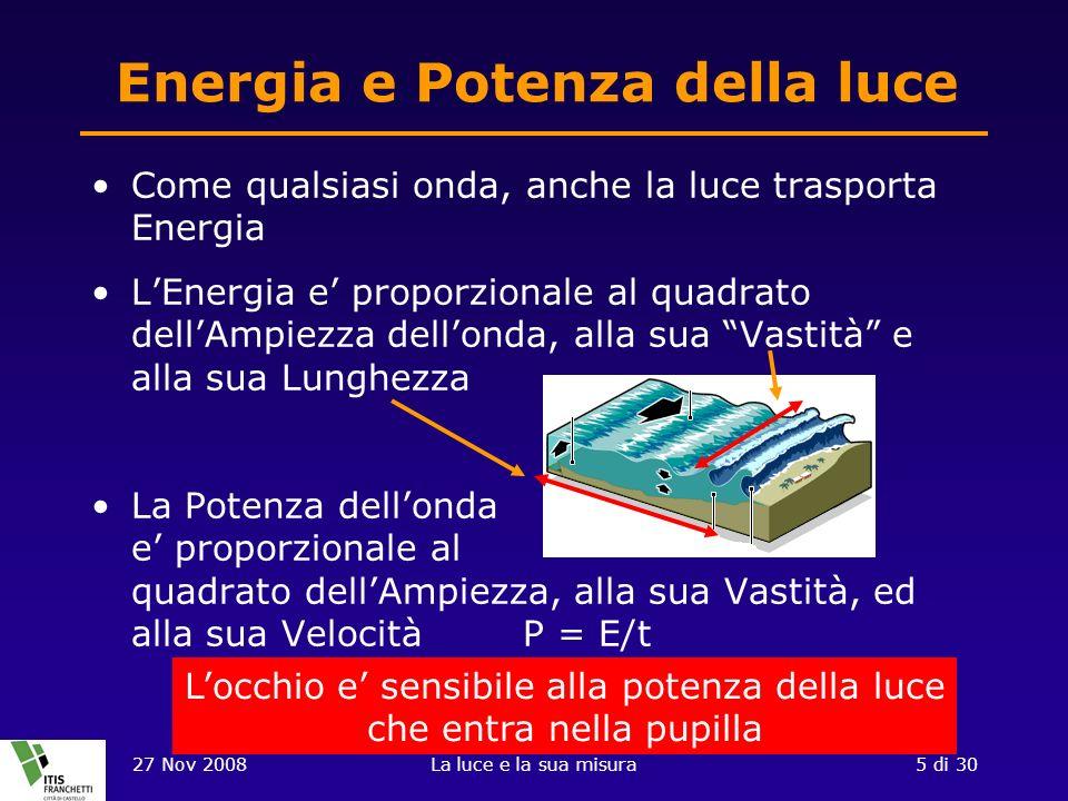 27 Nov 2008La luce e la sua misura5 di 30 Energia e Potenza della luce Come qualsiasi onda, anche la luce trasporta Energia LEnergia e proporzionale al quadrato dellAmpiezza dellonda, alla sua Vastità e alla sua Lunghezza La Potenza dellonda e proporzionale al quadrato dellAmpiezza, alla sua Vastità, ed alla sua Velocità P = E/t Locchio e sensibile alla potenza della luce che entra nella pupilla