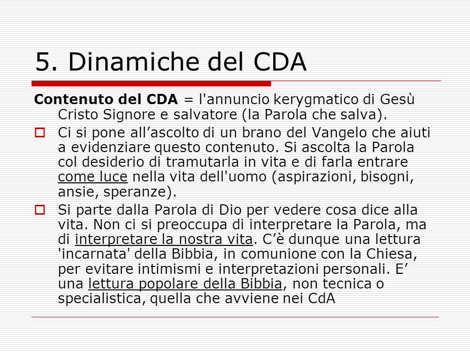 5. Dinamiche del CDA Contenuto del CDA = l'annuncio kerygmatico di Gesù Cristo Signore e salvatore (la Parola che salva). Ci si pone allascolto di un