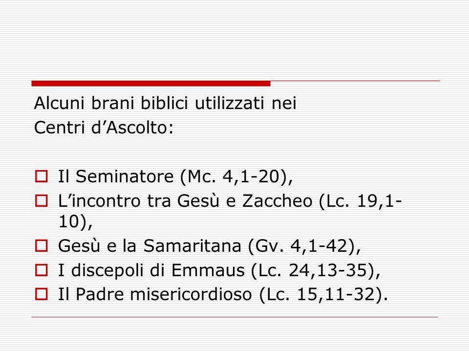 Alcuni brani biblici utilizzati nei Centri dAscolto: Il Seminatore (Mc. 4,1-20), Lincontro tra Gesù e Zaccheo (Lc. 19,1- 10), Gesù e la Samaritana (Gv