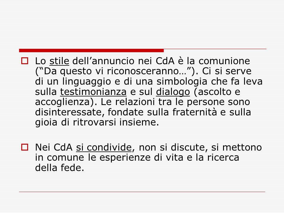Lo stile dellannuncio nei CdA è la comunione (Da questo vi riconosceranno…). Ci si serve di un linguaggio e di una simbologia che fa leva sulla testim