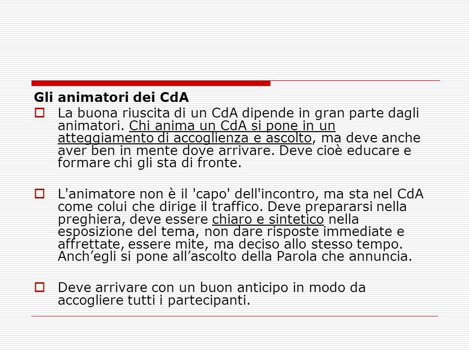 Gli animatori dei CdA La buona riuscita di un CdA dipende in gran parte dagli animatori. Chi anima un CdA si pone in un atteggiamento di accoglienza e