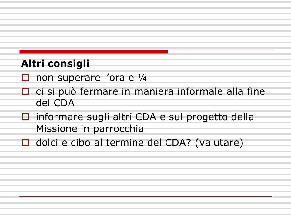 Altri consigli non superare lora e ¼ ci si può fermare in maniera informale alla fine del CDA informare sugli altri CDA e sul progetto della Missione