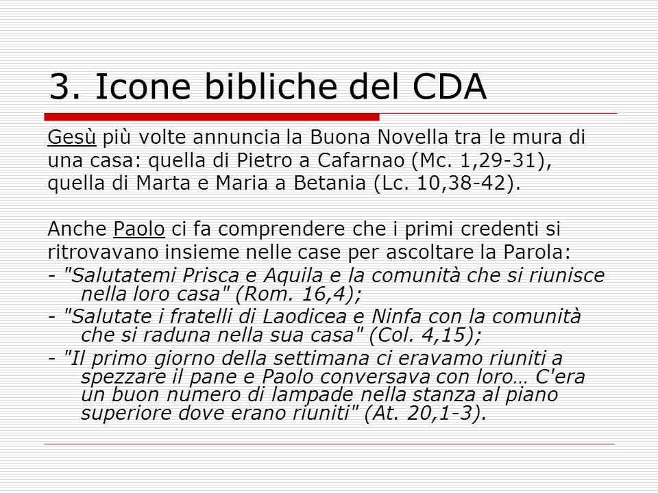 3. Icone bibliche del CDA Gesù più volte annuncia la Buona Novella tra le mura di una casa: quella di Pietro a Cafarnao (Mc. 1,29-31), quella di Marta