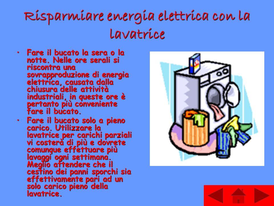 Risparmiare energia elettrica con la lavatrice Fare il bucato la sera o la notte. Nelle ore serali si riscontra una sovrapproduzione di energia elettr