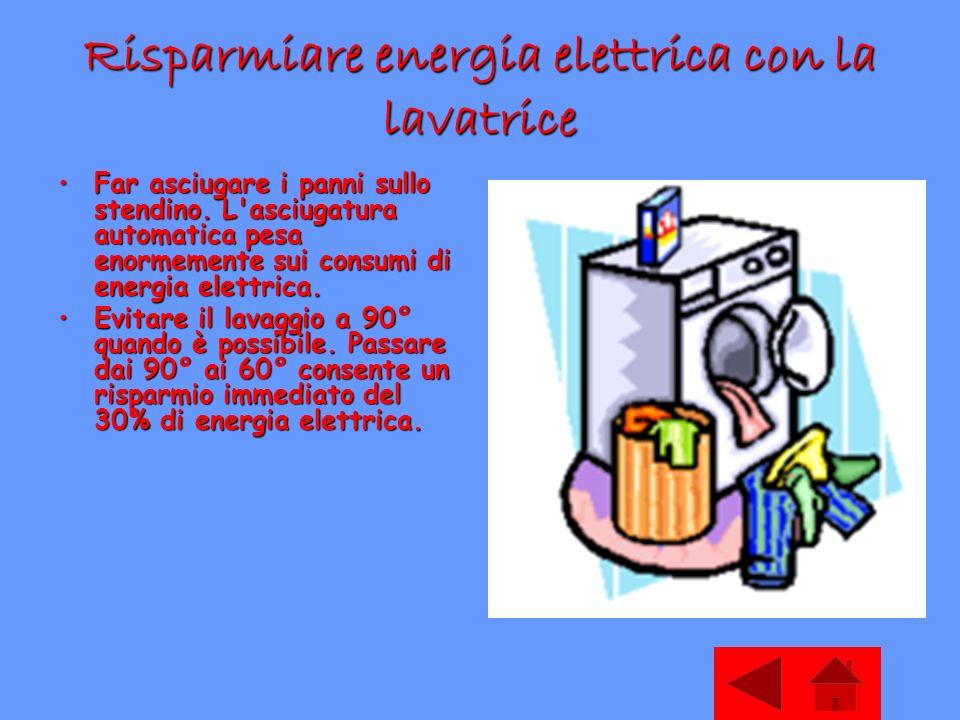 Risparmiare energia elettrica con la lavatrice Far asciugare i panni sullo stendino.