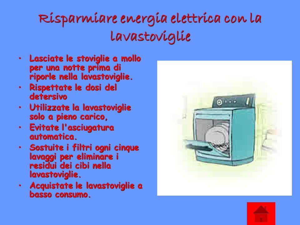Risparmiare energia elettrica con la lavastoviglie Lasciate le stoviglie a mollo per una notte prima di riporle nella lavastoviglie.Lasciate le stovig