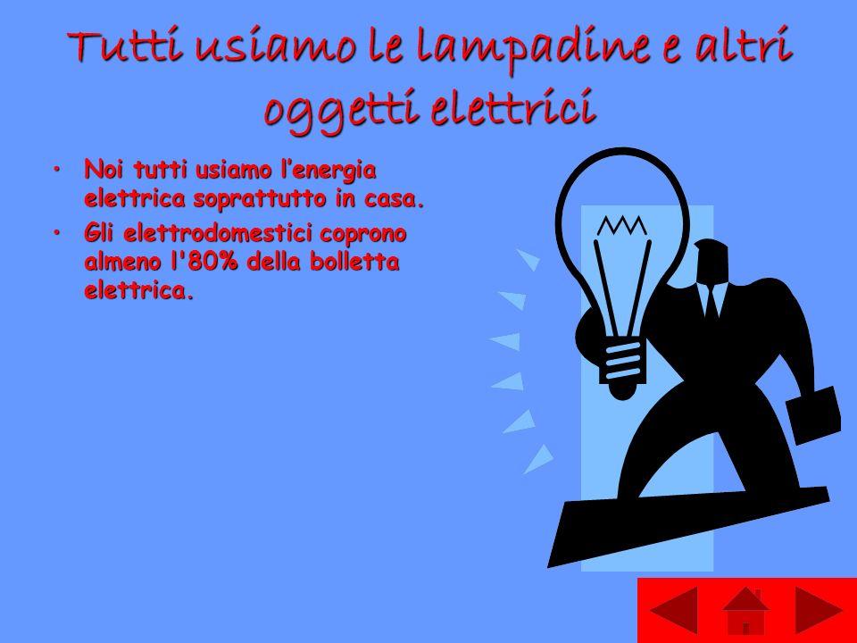 Tutti usiamo le lampadine e altri oggetti elettrici Noi tutti usiamo lenergia elettrica soprattutto in casa.Noi tutti usiamo lenergia elettrica soprattutto in casa.