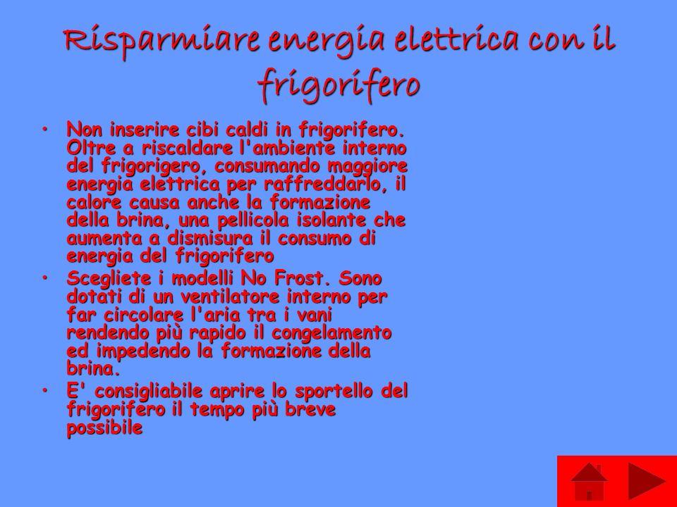 Risparmiare energia elettrica con il frigorifero Non inserire cibi caldi in frigorifero. Oltre a riscaldare l'ambiente interno del frigorigero, consum