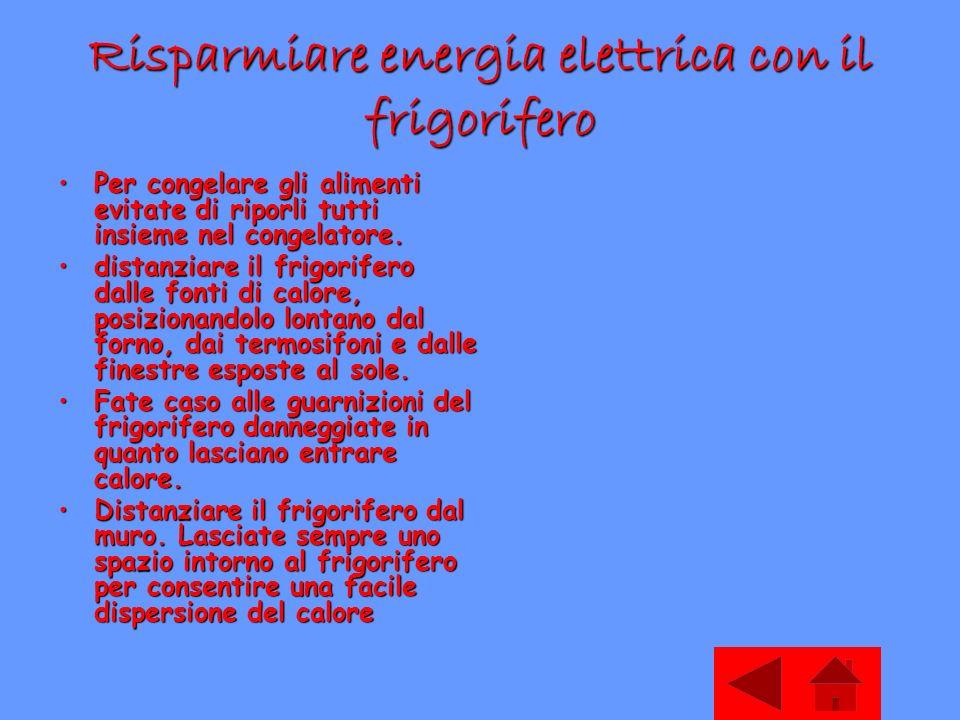 Risparmiare energia elettrica con il frigorifero Per congelare gli alimenti evitate di riporli tutti insieme nel congelatore.Per congelare gli aliment