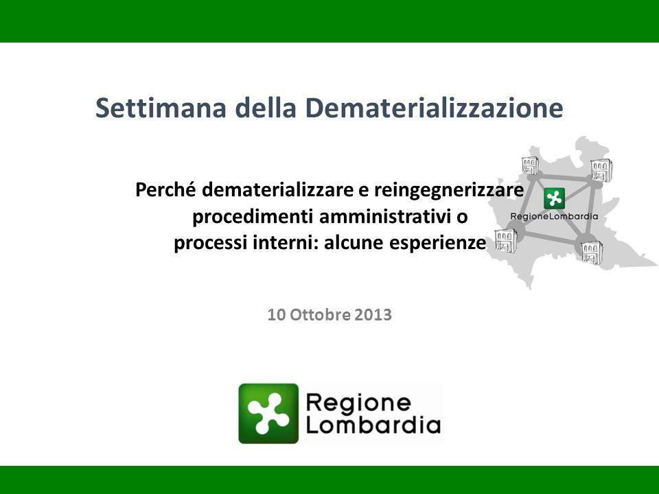 Settimana della Dematerializzazione Perché dematerializzare e reingegnerizzare procedimenti amministrativi o processi interni: alcune esperienze 10 Ot