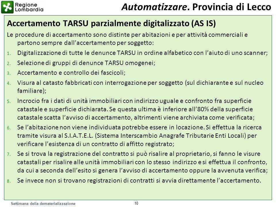Settimana della dematerializzazione Accertamento TARSU parzialmente digitalizzato (AS IS) Le procedure di accertamento sono distinte per abitazioni e