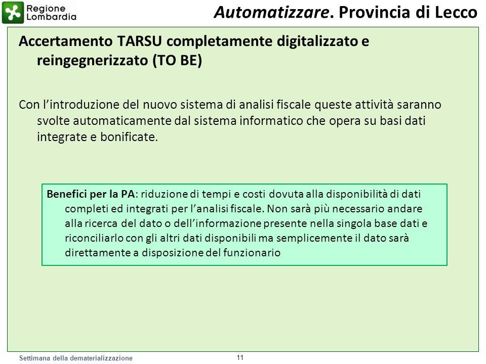 Settimana della dematerializzazione Accertamento TARSU completamente digitalizzato e reingegnerizzato (TO BE) Con lintroduzione del nuovo sistema di a