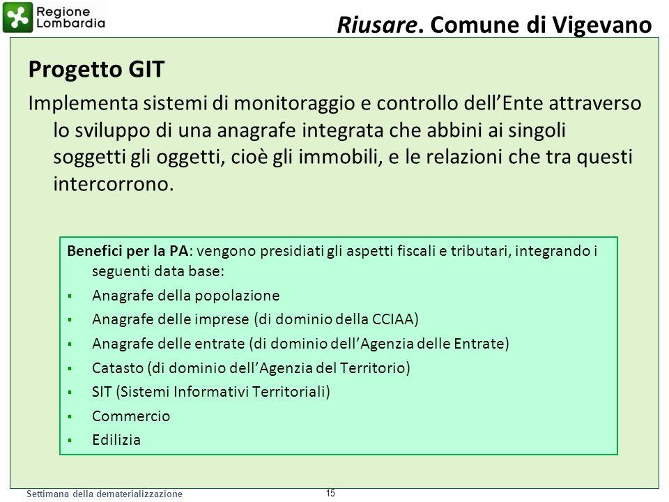 Settimana della dematerializzazione 15 Riusare. Comune di Vigevano Progetto GIT Implementa sistemi di monitoraggio e controllo dellEnte attraverso lo