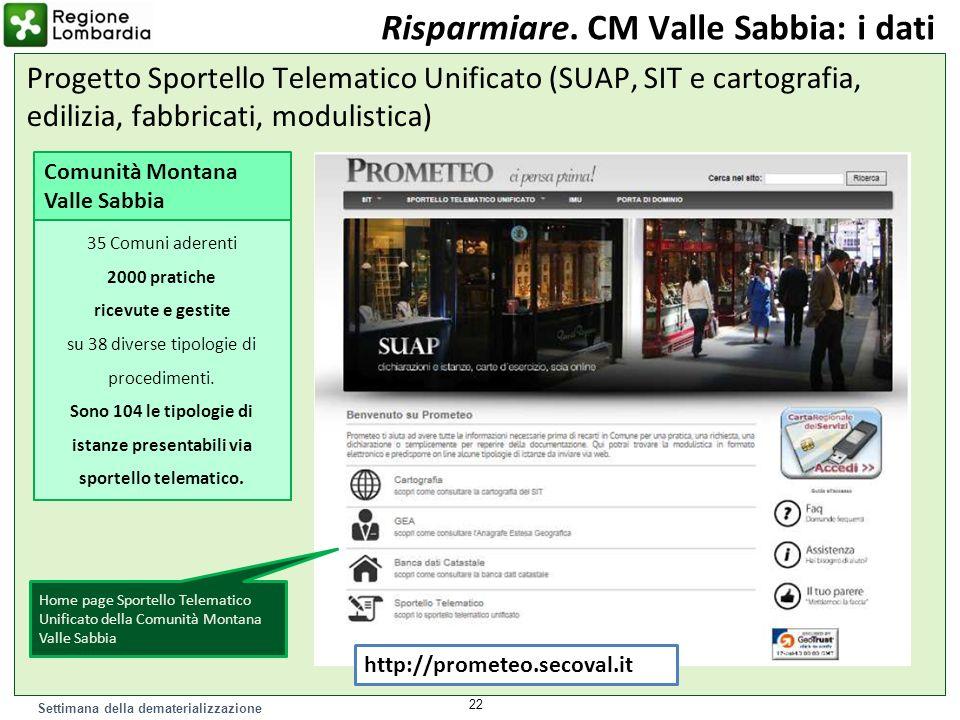 Settimana della dematerializzazione Risparmiare. CM Valle Sabbia: i dati Progetto Sportello Telematico Unificato (SUAP, SIT e cartografia, edilizia, f