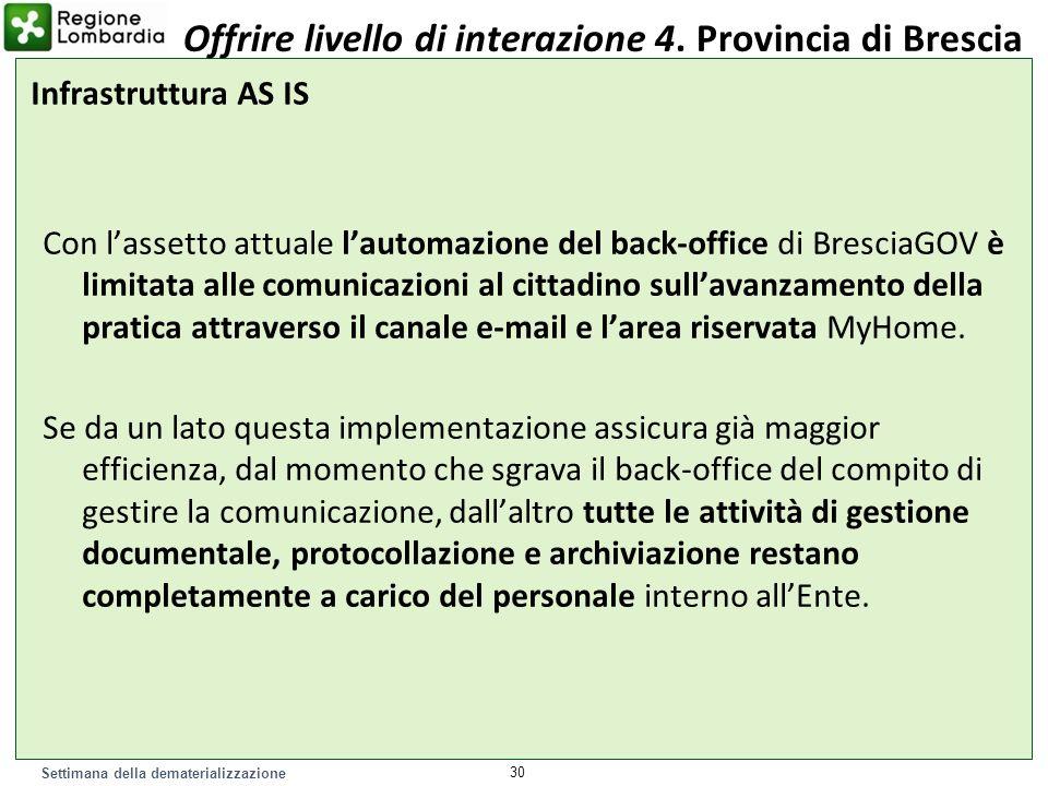 Settimana della dematerializzazione Con lassetto attuale lautomazione del back-office di BresciaGOV è limitata alle comunicazioni al cittadino sullava