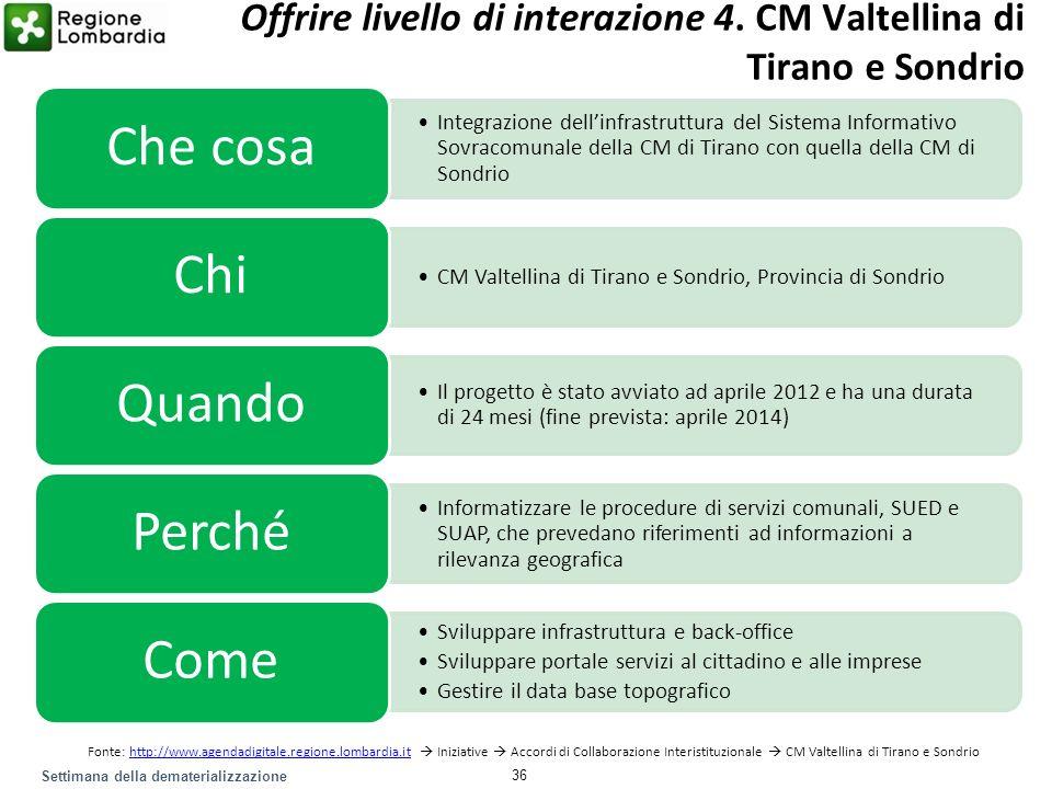 Settimana della dematerializzazione Integrazione dellinfrastruttura del Sistema Informativo Sovracomunale della CM di Tirano con quella della CM di So