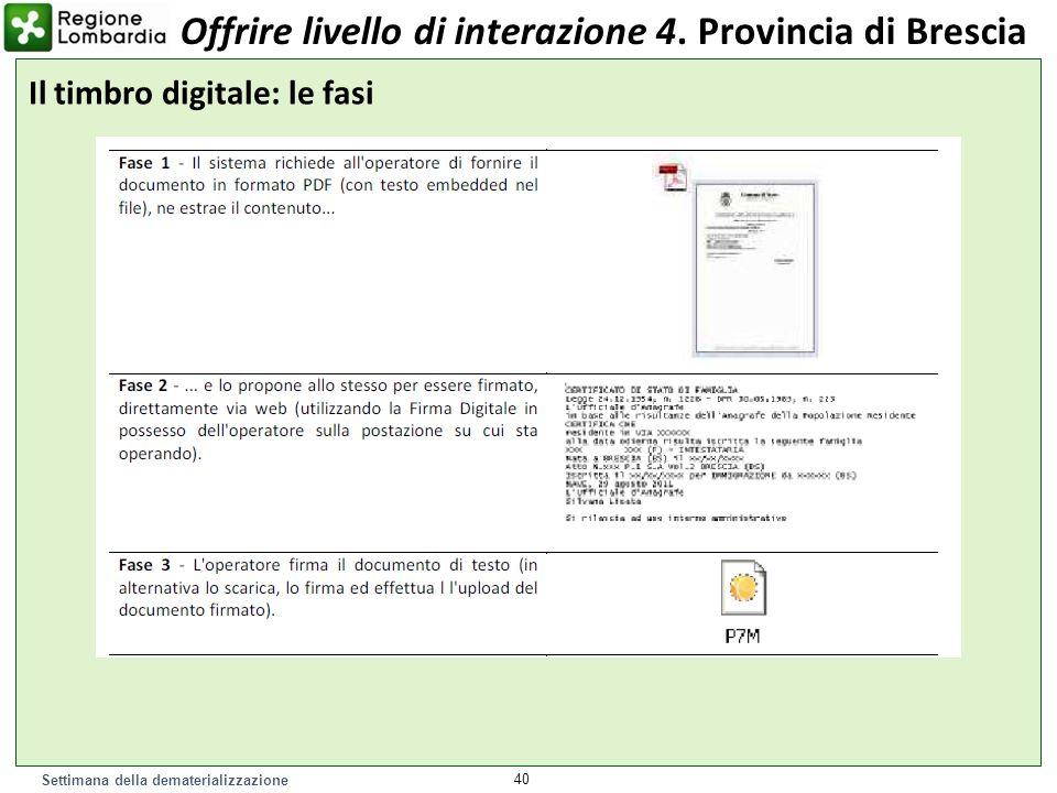 Settimana della dematerializzazione 40 Il timbro digitale: le fasi Offrire livello di interazione 4. Provincia di Brescia