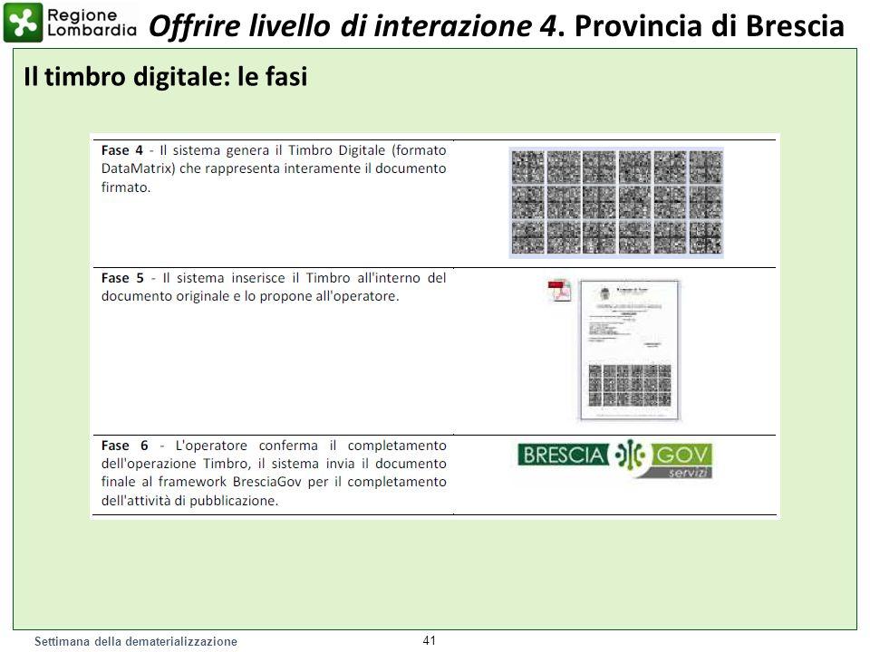Settimana della dematerializzazione 41 Il timbro digitale: le fasi Offrire livello di interazione 4. Provincia di Brescia