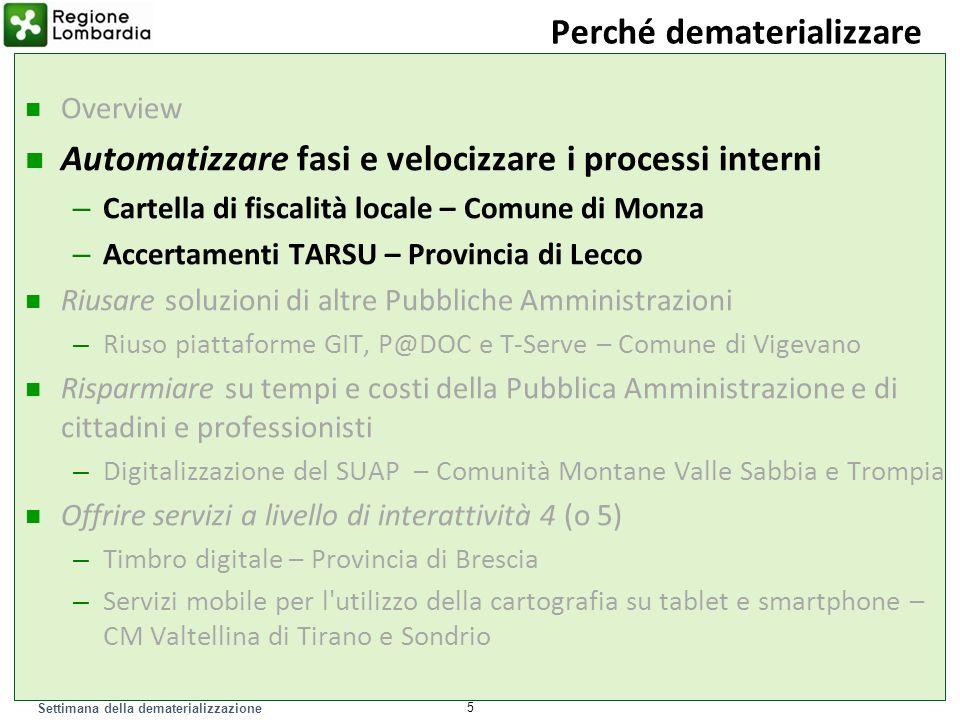 Settimana della dematerializzazione Rete GIT (Gestione Intersettoriale del Territorio) di Monza e Brianza Che cosa Comune di Monza e altri 4 Comuni della provincia.