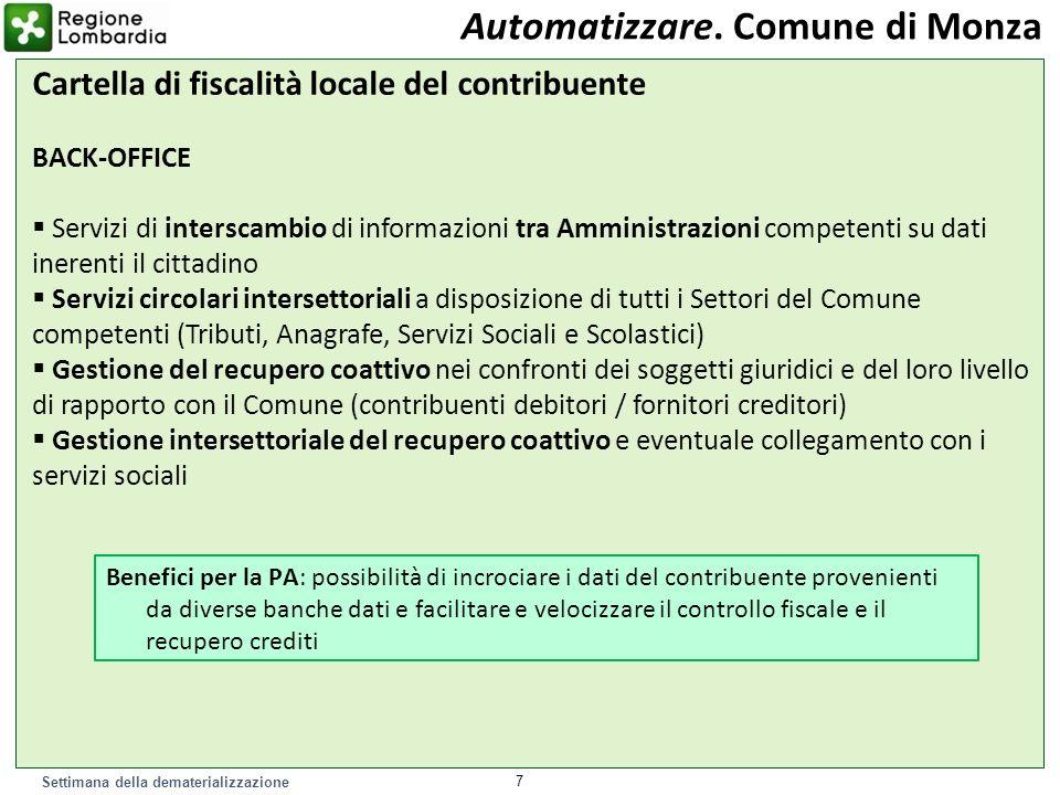 Settimana della dematerializzazione 7 Automatizzare. Comune di Monza Cartella di fiscalità locale del contribuente BACK-OFFICE Servizi di interscambio