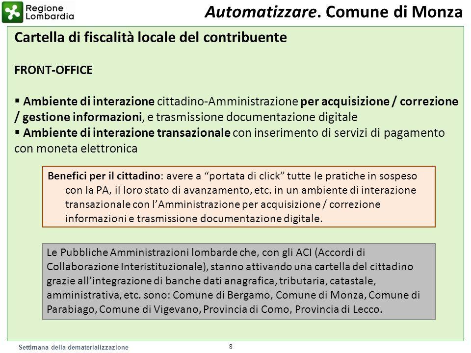 Settimana della dematerializzazione 8 Automatizzare. Comune di Monza Cartella di fiscalità locale del contribuente FRONT-OFFICE Ambiente di interazion