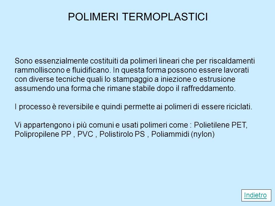 POLIMERI TERMOPLASTICI Sono essenzialmente costituiti da polimeri lineari che per riscaldamenti rammolliscono e fluidificano. In questa forma possono