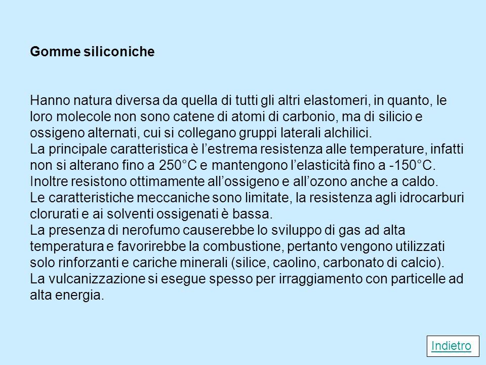 Gomme siliconiche Hanno natura diversa da quella di tutti gli altri elastomeri, in quanto, le loro molecole non sono catene di atomi di carbonio, ma d