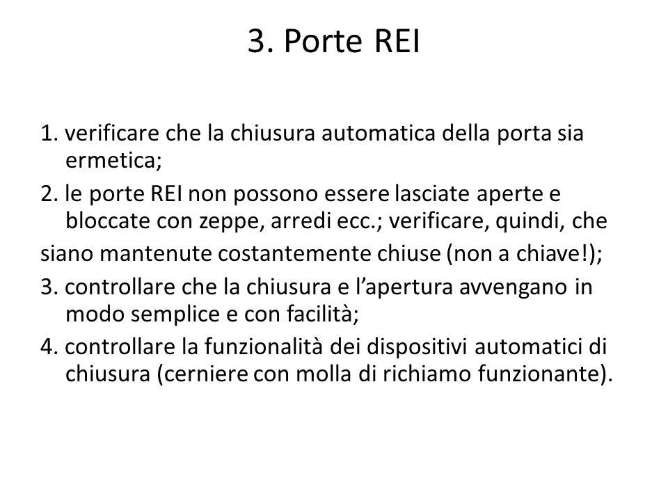 3. Porte REI 1. verificare che la chiusura automatica della porta sia ermetica; 2. le porte REI non possono essere lasciate aperte e bloccate con zepp