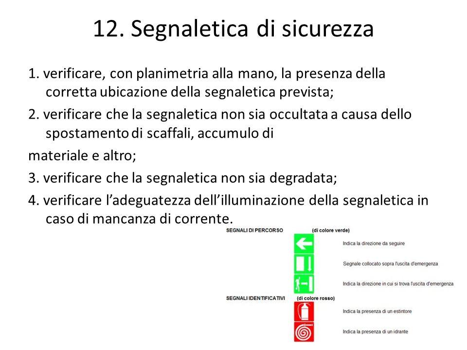 12. Segnaletica di sicurezza 1. verificare, con planimetria alla mano, la presenza della corretta ubicazione della segnaletica prevista; 2. verificare