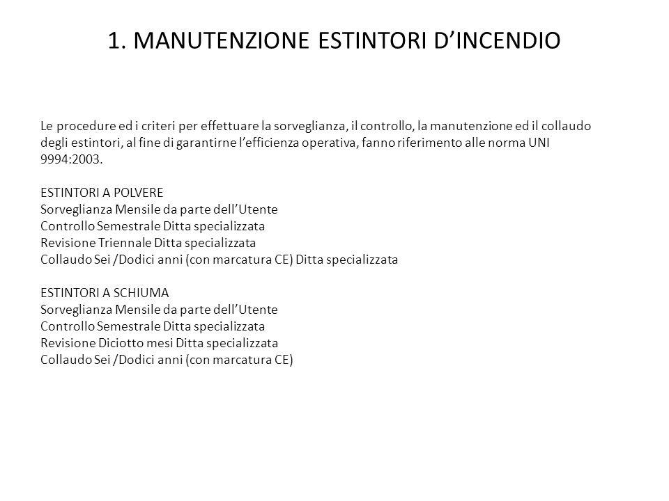 1. MANUTENZIONE ESTINTORI DINCENDIO Le procedure ed i criteri per effettuare la sorveglianza, il controllo, la manutenzione ed il collaudo degli estin