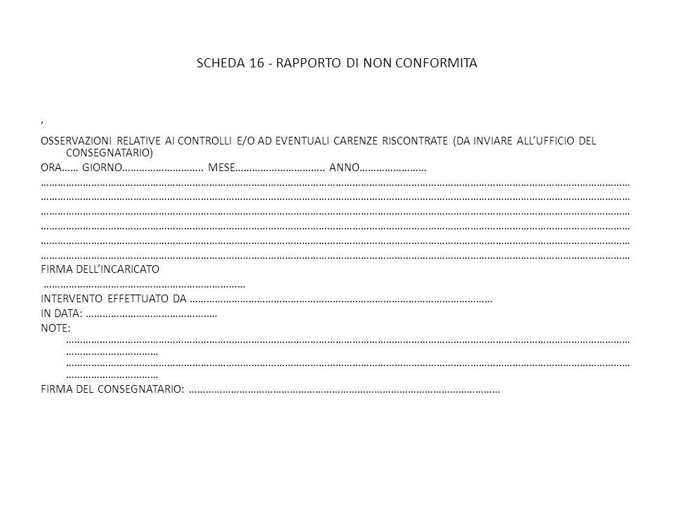 SCHEDA 16 - RAPPORTO DI NON CONFORMITA OSSERVAZIONI RELATIVE AI CONTROLLI E/O AD EVENTUALI CARENZE RISCONTRATE (DA INVIARE ALLUFFICIO DEL CONSEGNATARI